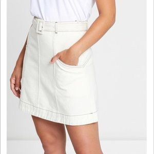 Anthropologie Ryder White CHLOE Skirt Belt NWT